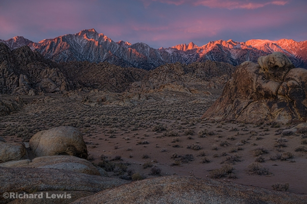 First Light in the Alabama Hills and the Sierra Nevada Mountains by Richard Lewis