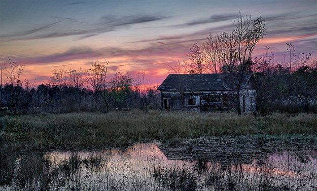 Sunset At The Old Cabin by Richard Lewis