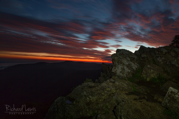 First Light on Hawksbill Mountain Shenandoah National Park by Richard Lewis