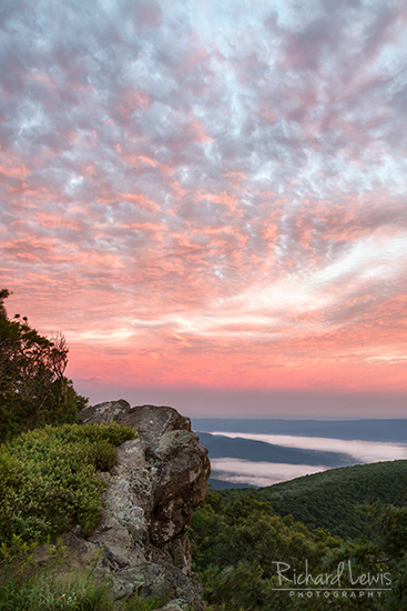 Sunrise in Shenandoah National Park on Hawksbill Mountain by Richard Lewis