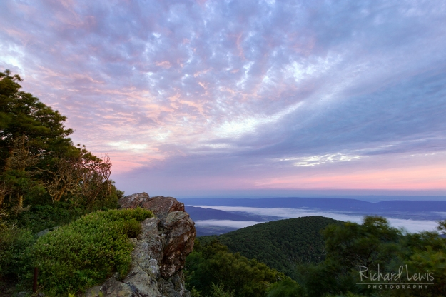 Dawn's Aftermath in Shenandoah National Park Hawksbill Mountain by Richard Lewis