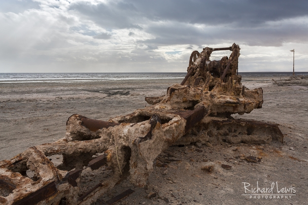 Old Crane Up Close on Bombay Beach by Richard Lewis